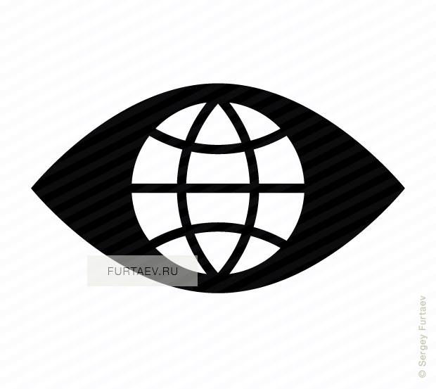 Vector icon of globe in place of pupil of eye