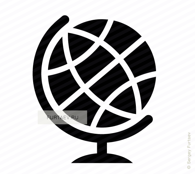 Vector icon of world globe on stand