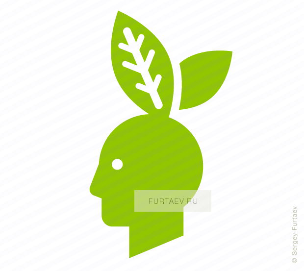 Vector icon of male profile with rabbit ears in form of sprouts
