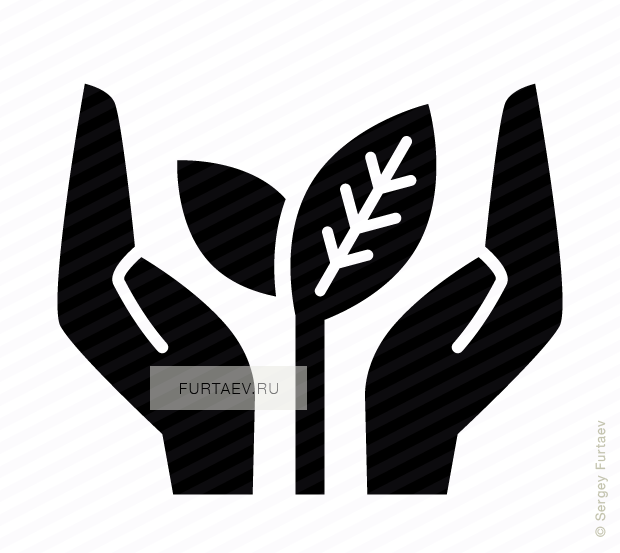Vector icon of young leaves growing up between two hands