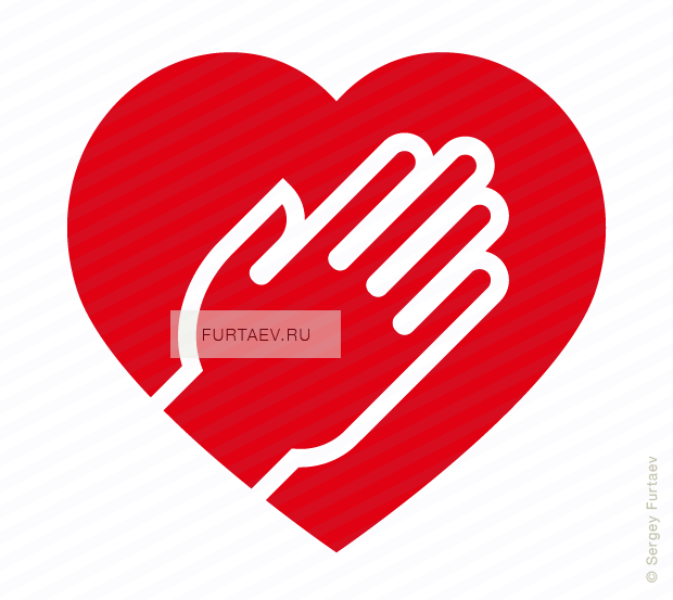 Vector icon of heart under human hand