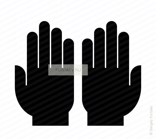 Vector icon of two human hands