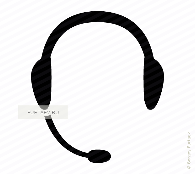 Vector icon of headphone with microphone
