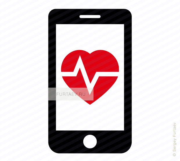 Vector icon of smartphone with heartbeat on screen