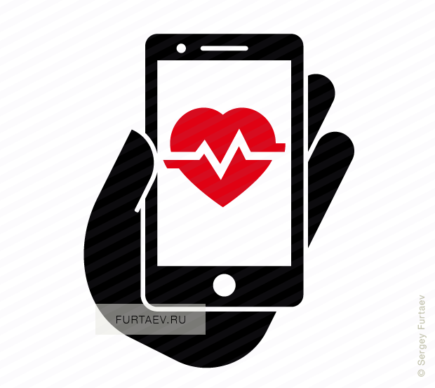 Vector icon of mobile phone in hand with heart beat on screen