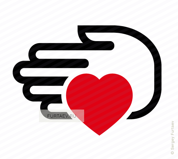Vector icon of hand holding heart