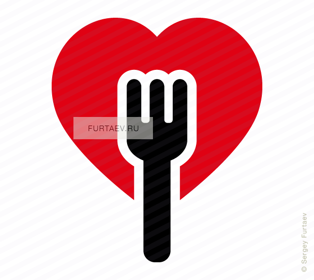 Vector icon of heart with fork inside