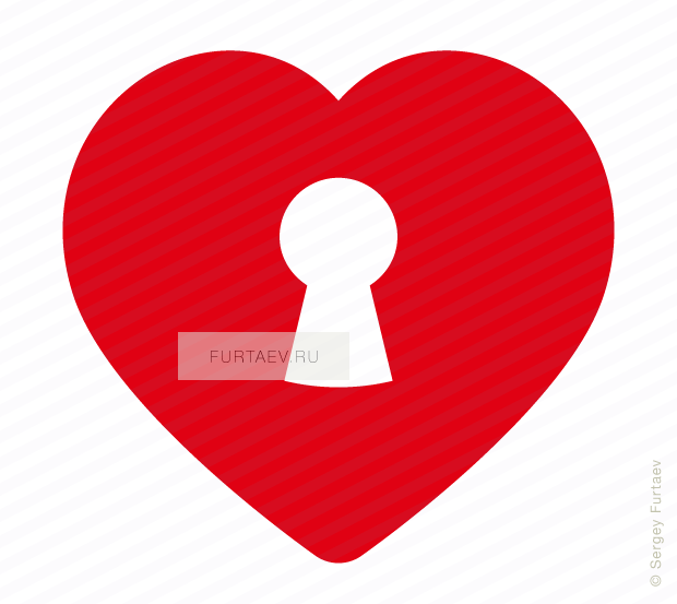 Vector icon of heart with keyhole