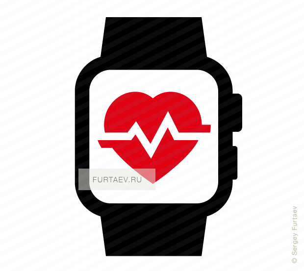 Vector icon of smart watch with heart beat on screen