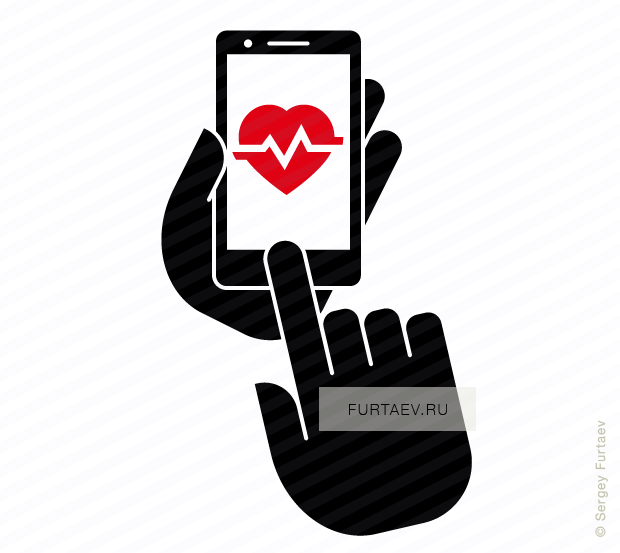 Vector icon of mobile phone in hand with heart beat on screen under index finger