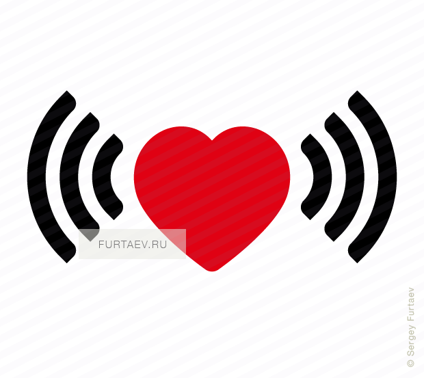 Vector icon of wireless signal going from heart