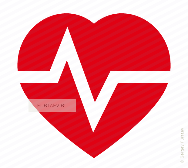 Vector icon of pulse line over heart