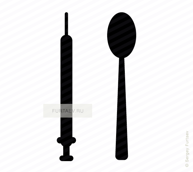 Vector icon of syringe and spoon