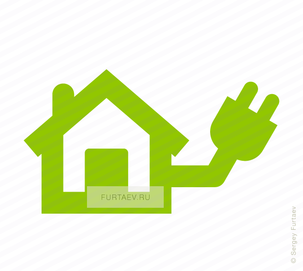 Vector icon of house with power plug
