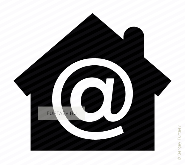 Vector icon of house with at sign inside