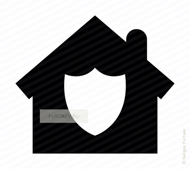 Vector icon of shield over house