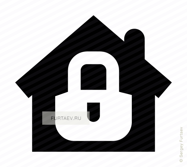 Vector icon of closed padlock over house
