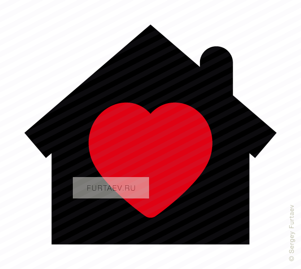 Vector icon of heart over house