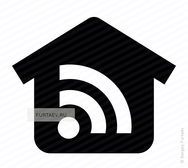 Vector icon of house with Wi-Fi signal sign inside
