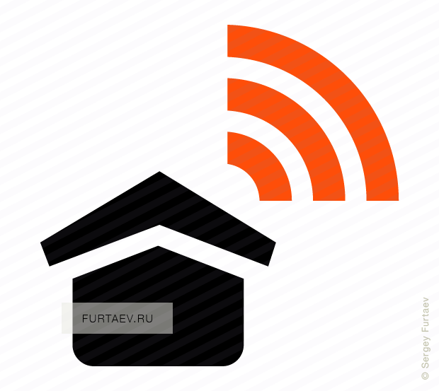Vector icon of house with Wi-Fi signal