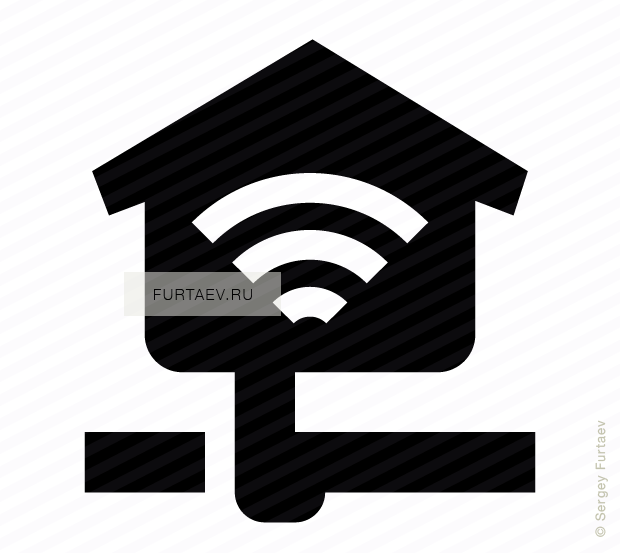 Vector icon of house with Wi-Fi signal sign inside connected to network