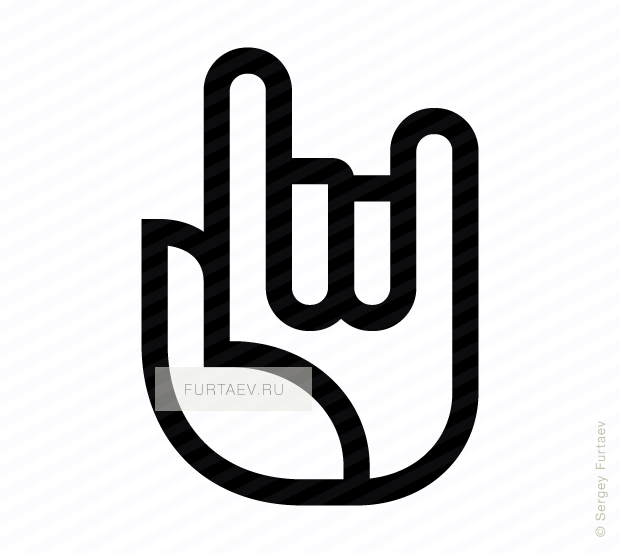 Vector icon of hand with raised index and little fingers