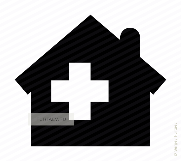 Vector icon of house with cross inside
