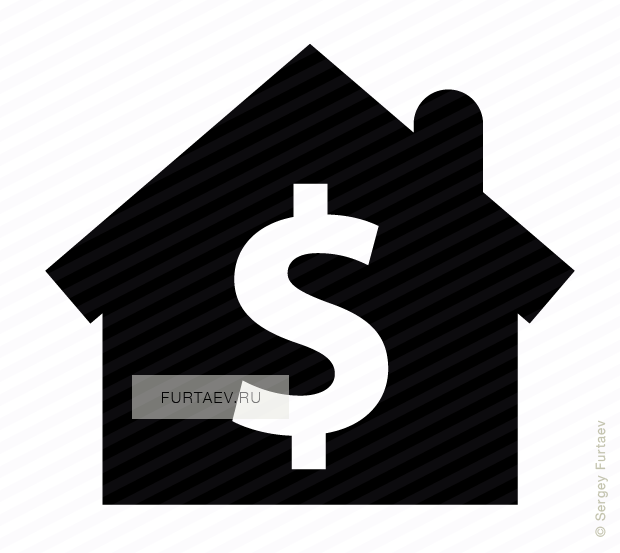 Vector icon of house with dollar sign inside