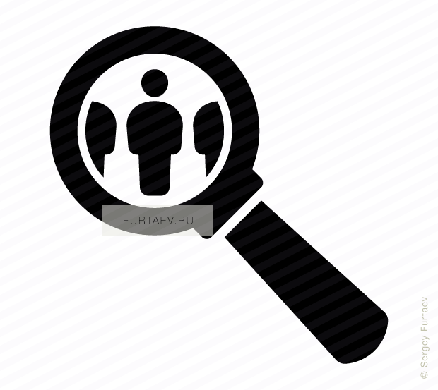 Vector icon of persons under magnifying glass