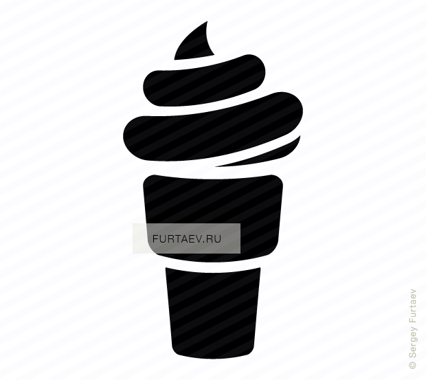 Vector icon of ice cream in waffle cone
