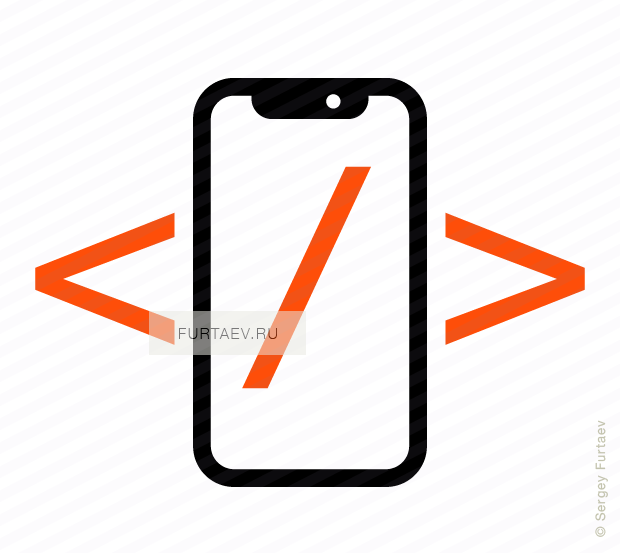 Vector icon of Apple iPhone X with code symbols on screen