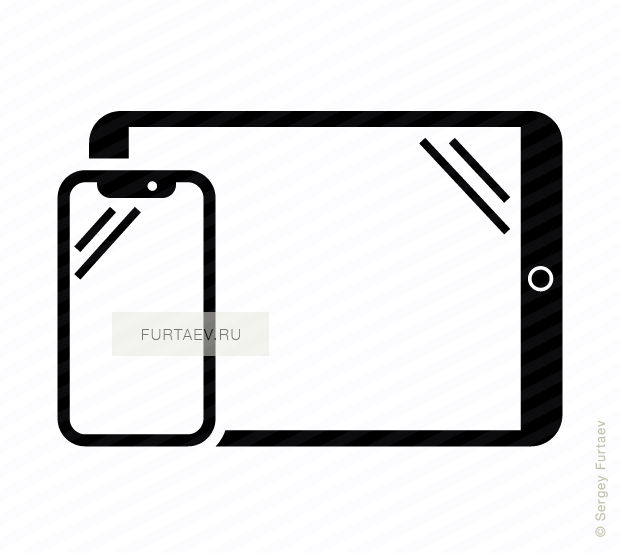 Vector icon of vertical smartphone and horizontal tablet computer by Apple