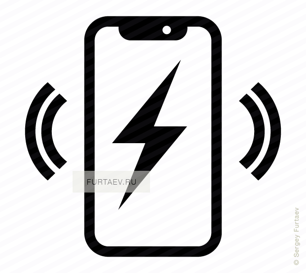 Vector icon of wireless signal going from Apple iPhone X with lightning on screen
