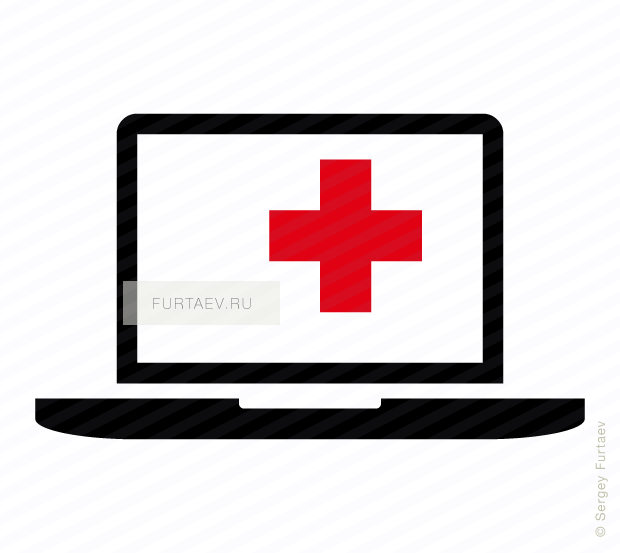 Vector icon of notebook computer with cross sign on screen