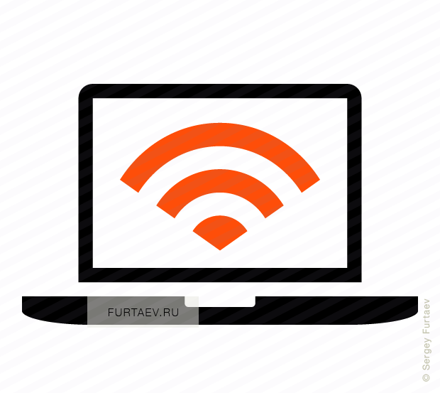 Vector icon of notebook with Wi-Fi signal on screen
