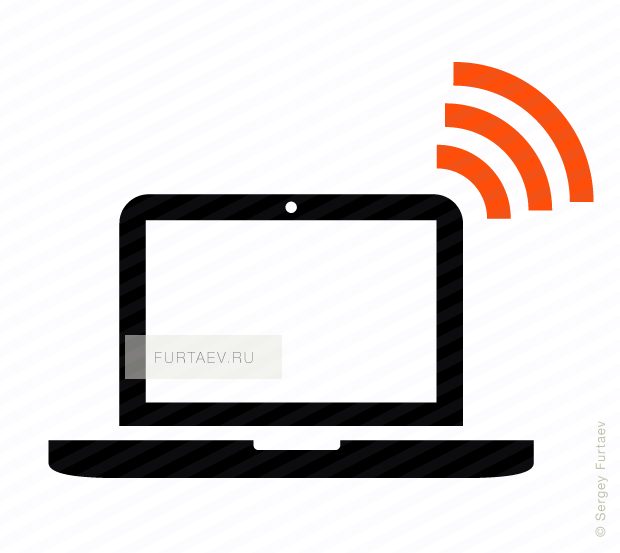 Vector icon of wireless signal going from notebook