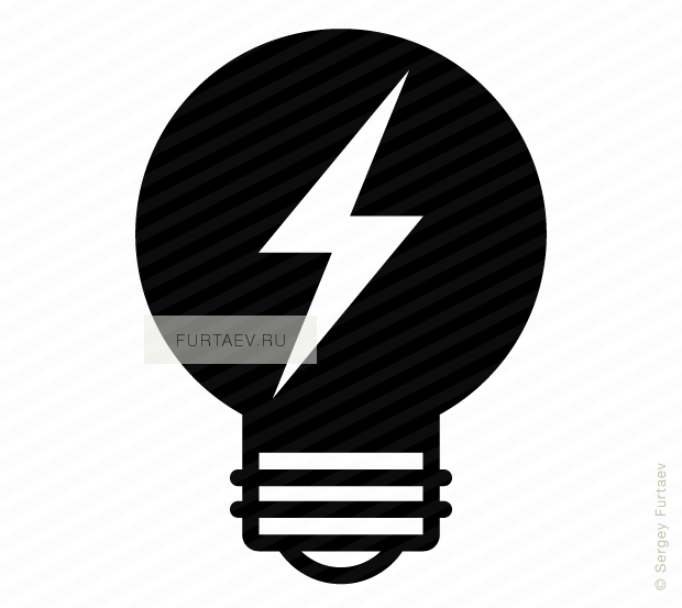 Vector icon of electric lamp with lightning bolt inside
