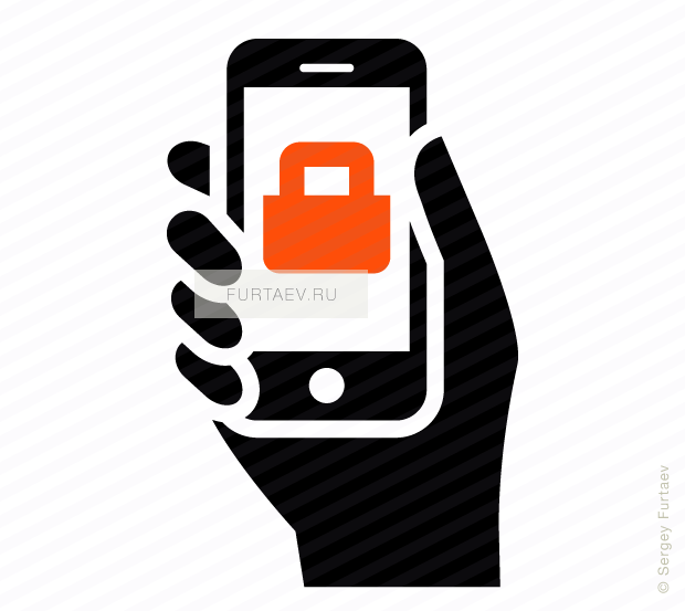 Vector icon of smartphone in hand with padlock on screen