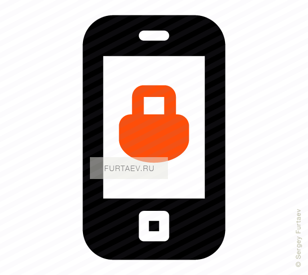Vector icon of mobile phone with padlock on screen