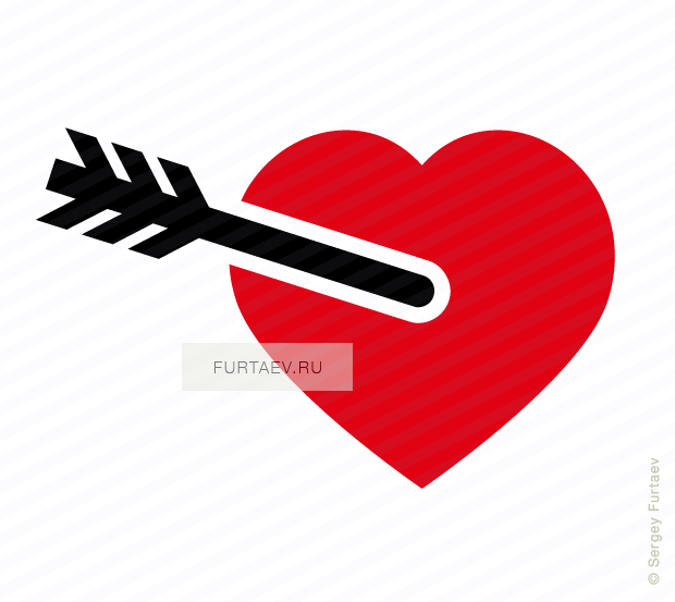 Vector icon of arrow in heart