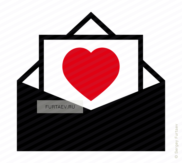 Vector icon of opened envelope with heart inside