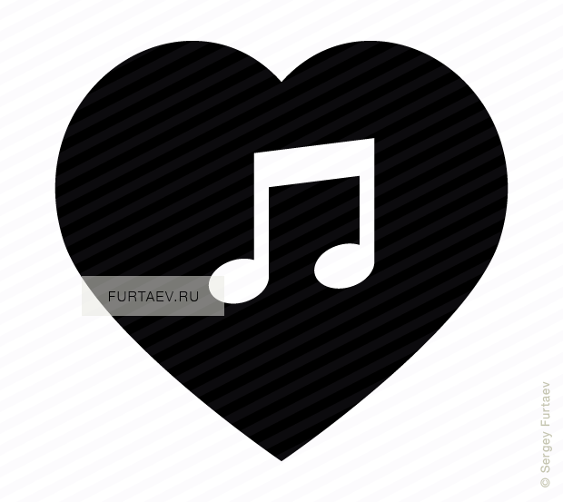 Vector icon of heart with musical note inside
