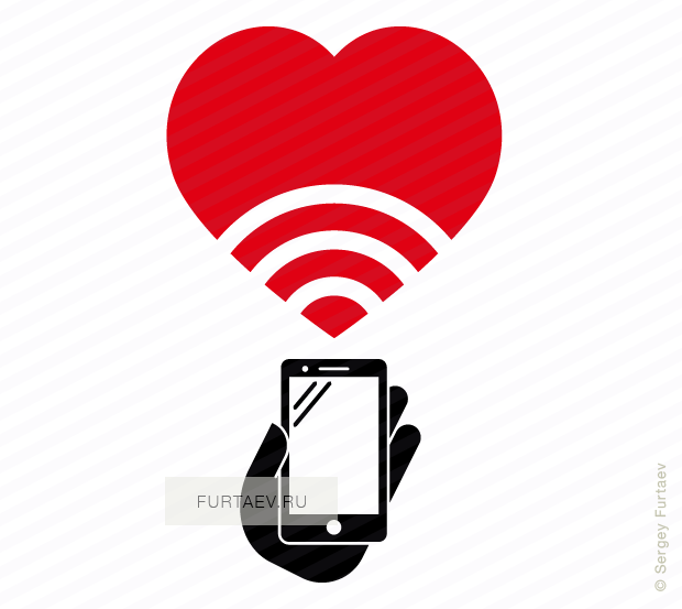 Vector icon of smartphone in hand under Wi-Fi signal sign inside heart shape