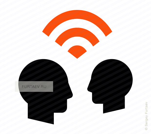 Vector icon of signal between two male profiles
