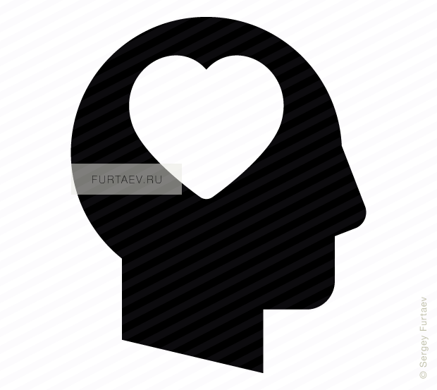 Vector icon of male profile with heart inside head