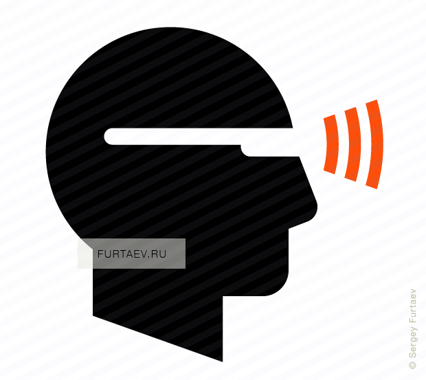 Vector icon of wireless signal going from male profile with glasses