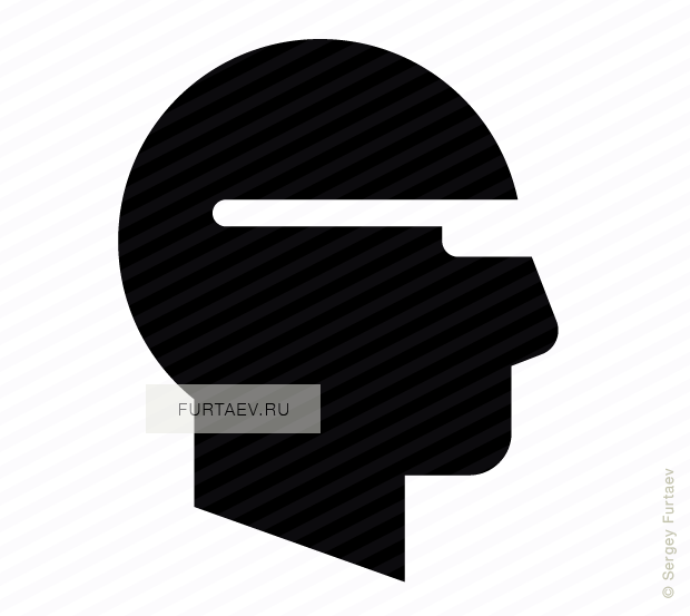 Vector icon of male profile with glasses