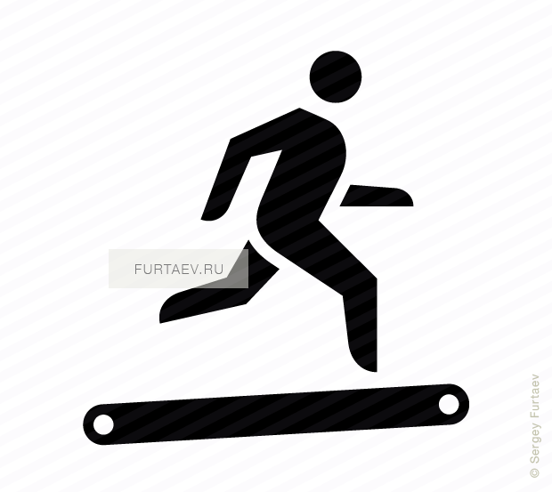 Vector icon of running male person on treadmill