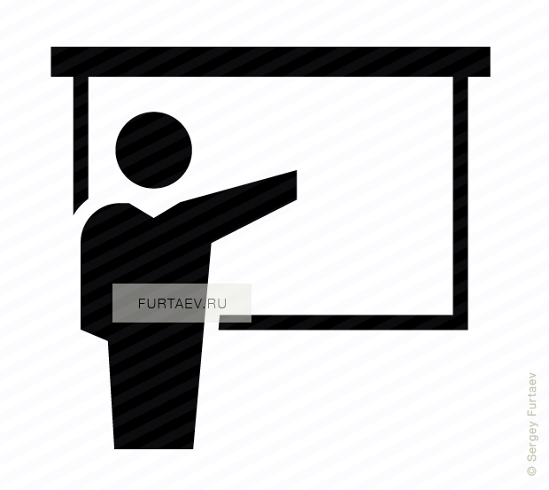 Vector icon of speaker presenting slide show on screen