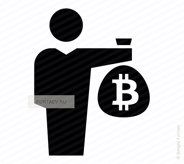Vector icon of male person holding big sack with bitcoin sign in his hand